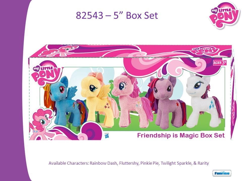 82543 – 5 Box Set Available Characters: Rainbow Dash, Fluttershy, Pinkie Pie, Twilight Sparkle, & Rarity