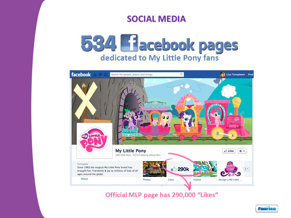 SOCIAL MEDIA Official MLP page has 290,000 Likes dedicated to My Little Pony fans