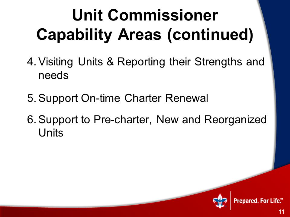 Unit Commissioner Capability Areas (continued) 4.Visiting Units & Reporting their Strengths and needs 5.Support On-time Charter Renewal 6.Support to Pre-charter, New and Reorganized Units 11