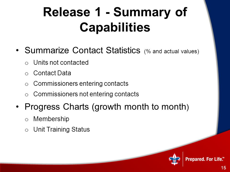 Summarize Contact Statistics (% and actual values) o Units not contacted o Contact Data o Commissioners entering contacts o Commissioners not entering contacts Progress Charts (growth month to month ) o Membership o Unit Training Status Release 1 - Summary of Capabilities 15