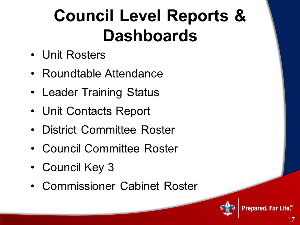 17 Council Level Reports & Dashboards Unit Rosters Roundtable Attendance Leader Training Status Unit Contacts Report District Committee Roster Council Committee Roster Council Key 3 Commissioner Cabinet Roster