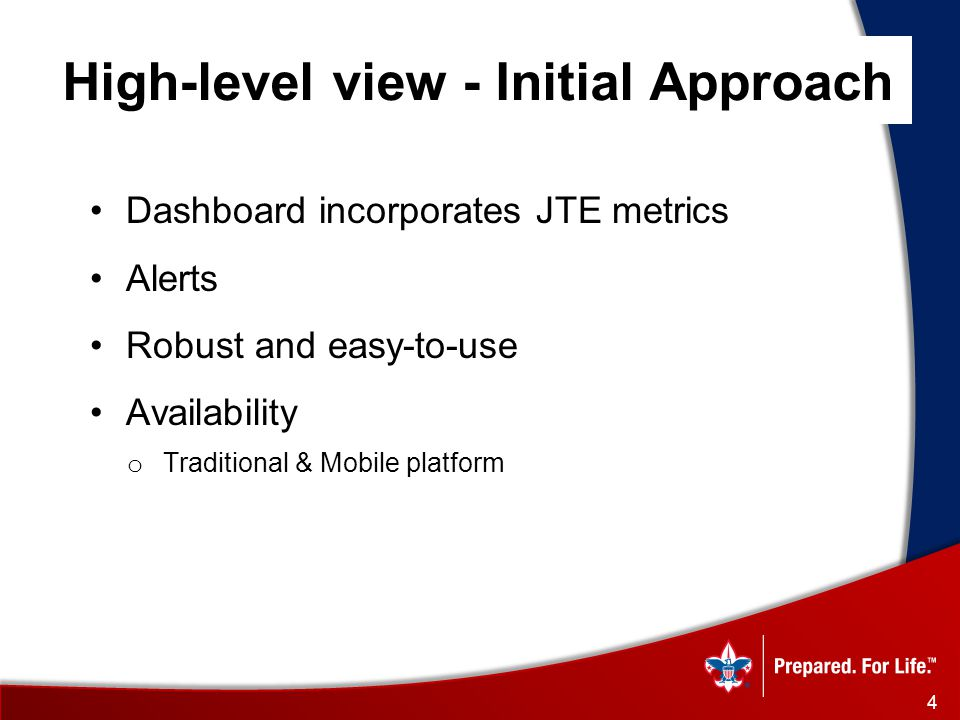 High-level view - Initial Approach Dashboard incorporates JTE metrics Alerts Robust and easy-to-use Availability o Traditional & Mobile platform 4