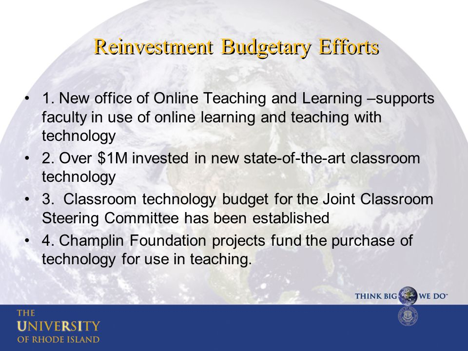 Reinvestment Budgetary Efforts 1.