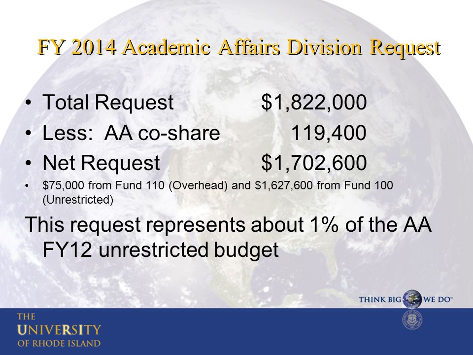 FY 2014 Academic Affairs Division Request Total Request$1,822,000 Less: AA co-share 119,400 Net Request$1,702,600 $75,000 from Fund 110 (Overhead) and $1,627,600 from Fund 100 (Unrestricted) This request represents about 1% of the AA FY12 unrestricted budget