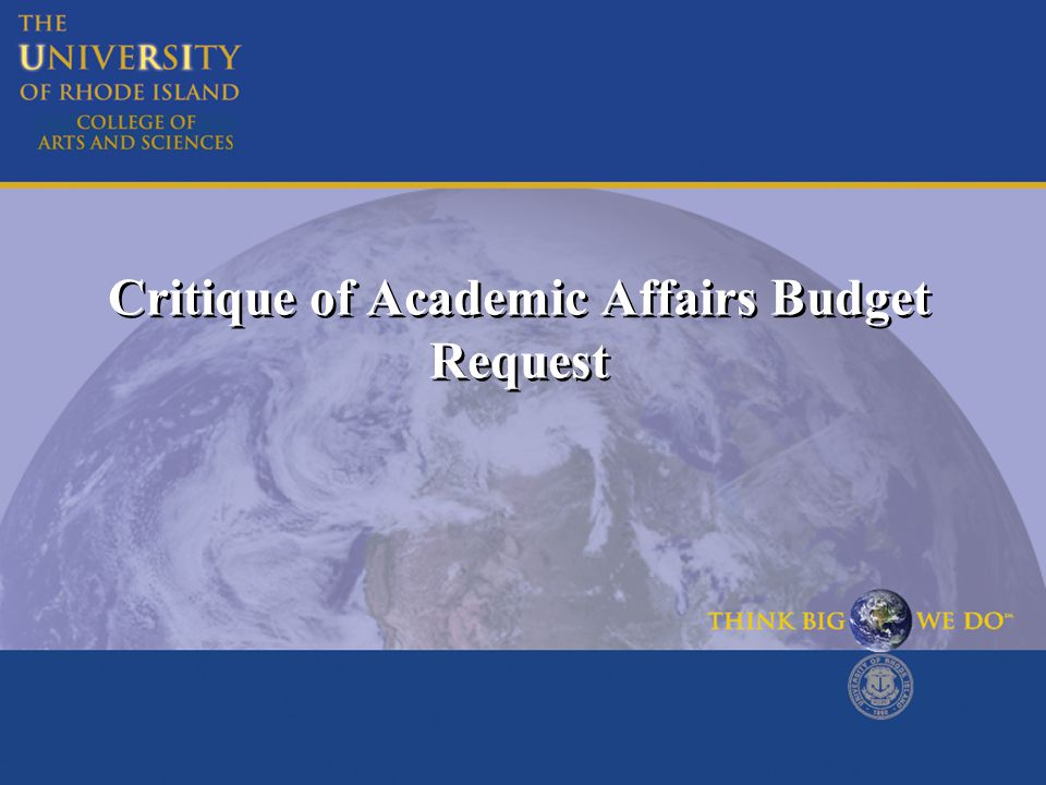 Critique of Academic Affairs Budget Request
