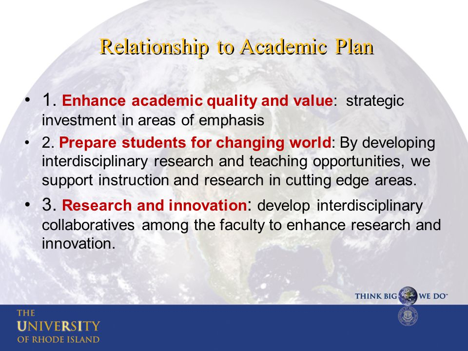 Relationship to Academic Plan 1.
