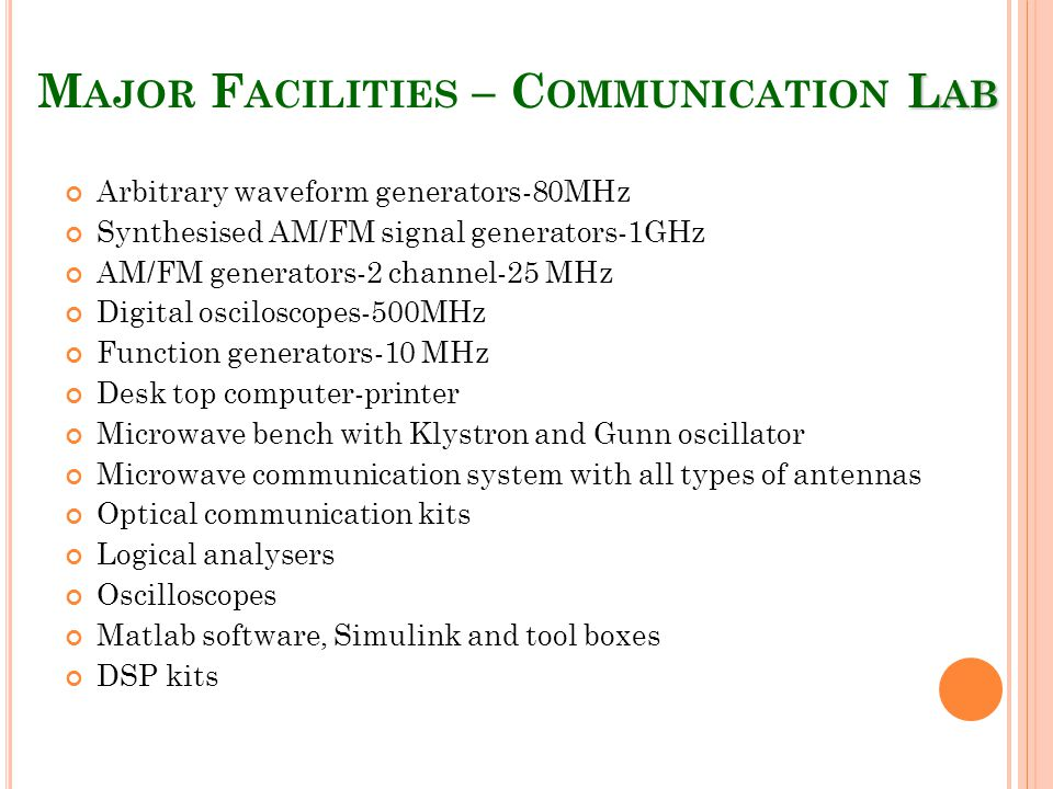 L AB M AJOR F ACILITIES – C OMMUNICATION L AB Arbitrary waveform generators-80MHz Synthesised AM/FM signal generators-1GHz AM/FM generators-2 channel-25 MHz Digital osciloscopes-500MHz Function generators-10 MHz Desk top computer-printer Microwave bench with Klystron and Gunn oscillator Microwave communication system with all types of antennas Optical communication kits Logical analysers Oscilloscopes Matlab software, Simulink and tool boxes DSP kits