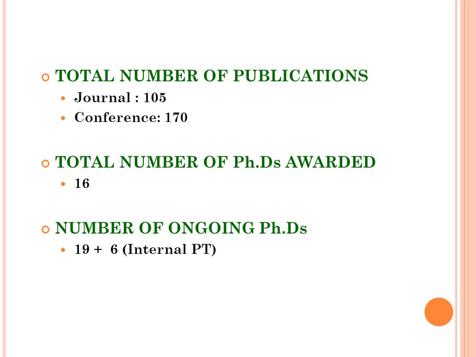 TOTAL NUMBER OF PUBLICATIONS Journal : 105 Conference: 170 TOTAL NUMBER OF Ph.Ds AWARDED 16 NUMBER OF ONGOING Ph.Ds 19 + 6 (Internal PT)