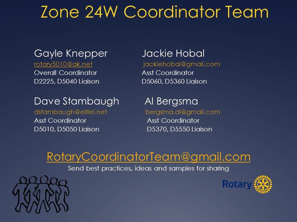 Zone 24W Coordinator Team Gayle Knepper Jackie Hobal rotary5010@ak.netrotary5010@ak.net jackiehobal@gmail.com Overall CoordinatorAsst Coordinator D2225, D5040 Liaison D5060, D5360 Liaison Dave Stambaugh Al Bergsma dstambaugh@elltel.net bergsma.al@gmail.com Asst Coordinator D5010, D5050 Liaison D5370, D5550 Liaison RotaryCoordinatorTeam@gmail.com Send best practices, ideas and samples for sharing www.GreatIdeastoShare.com