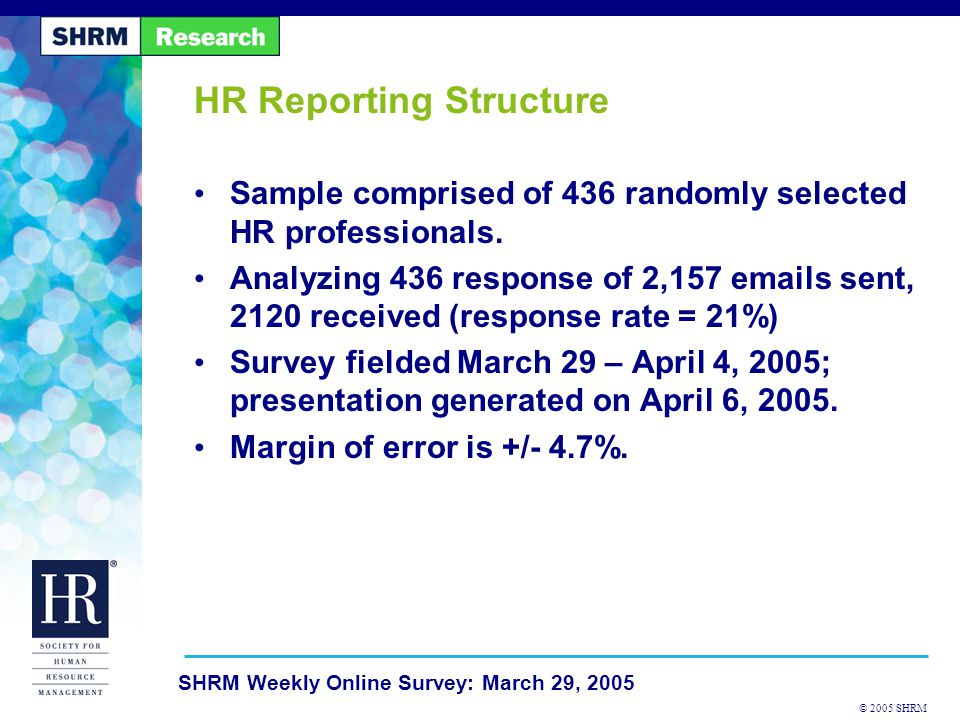© 2005 SHRM SHRM Weekly Online Survey: March 29, 2005 HR Reporting Structure Sample comprised of 436 randomly selected HR professionals.