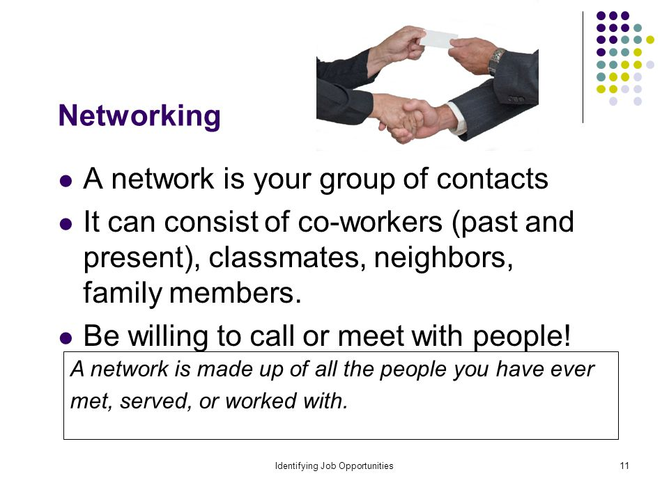 Identifying Job Opportunities11 Networking A network is your group of contacts It can consist of co-workers (past and present), classmates, neighbors, family members.