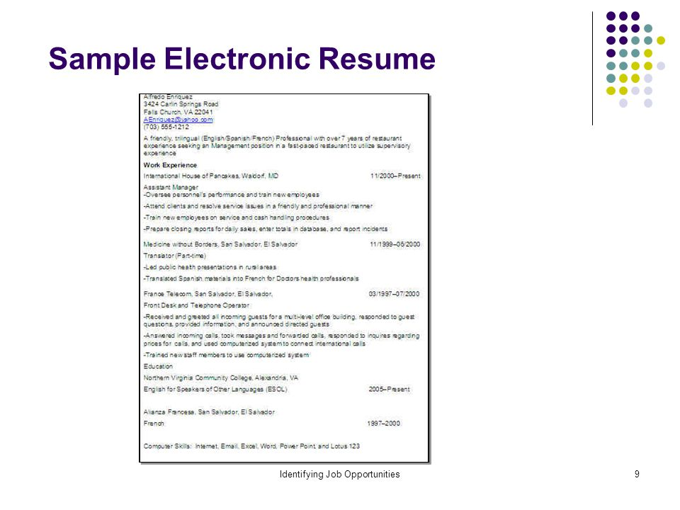 Identifying Job Opportunities9 Sample Electronic Resume