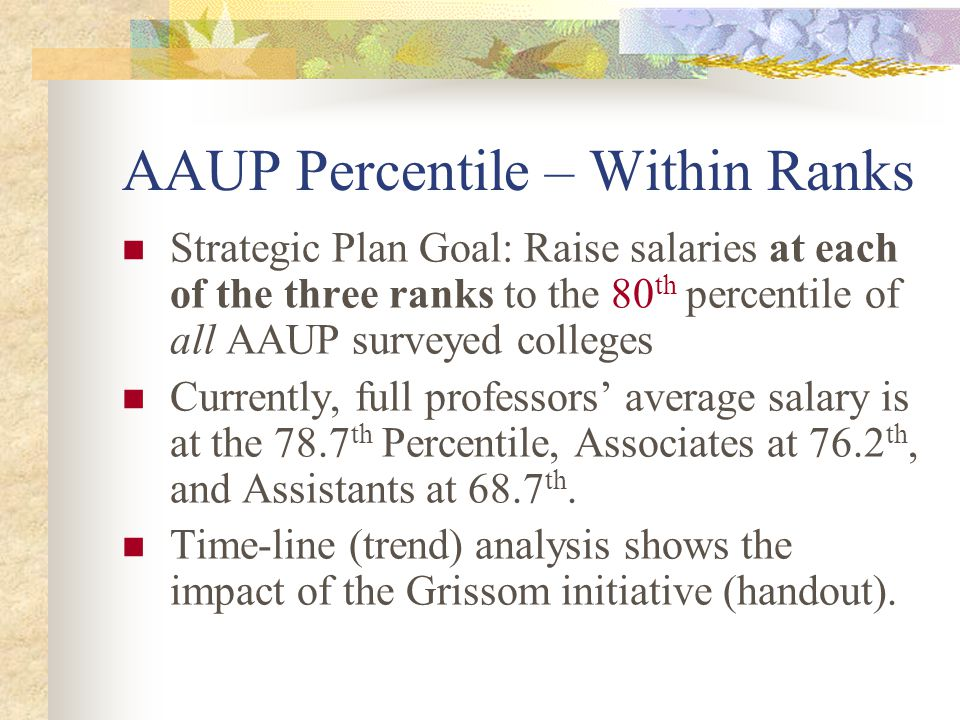 AAUP Percentile – Within Ranks Strategic Plan Goal: Raise salaries at each of the three ranks to the 80 th percentile of all AAUP surveyed colleges Cu