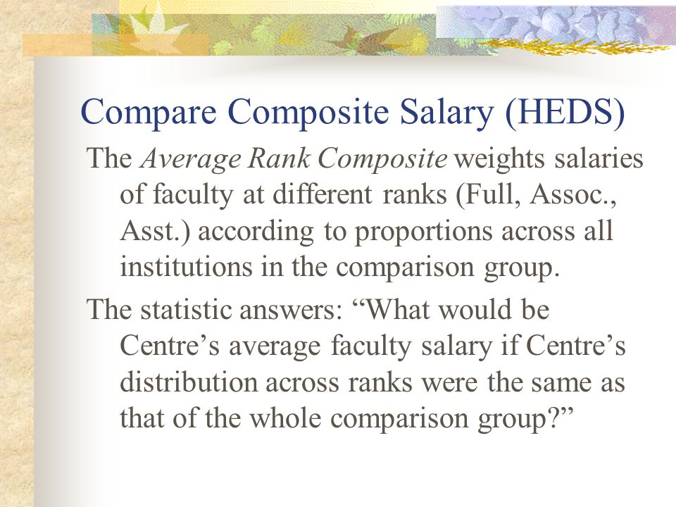 Compare Composite Salary (HEDS) The Average Rank Composite weights salaries of faculty at different ranks (Full, Assoc., Asst.) according to proportio
