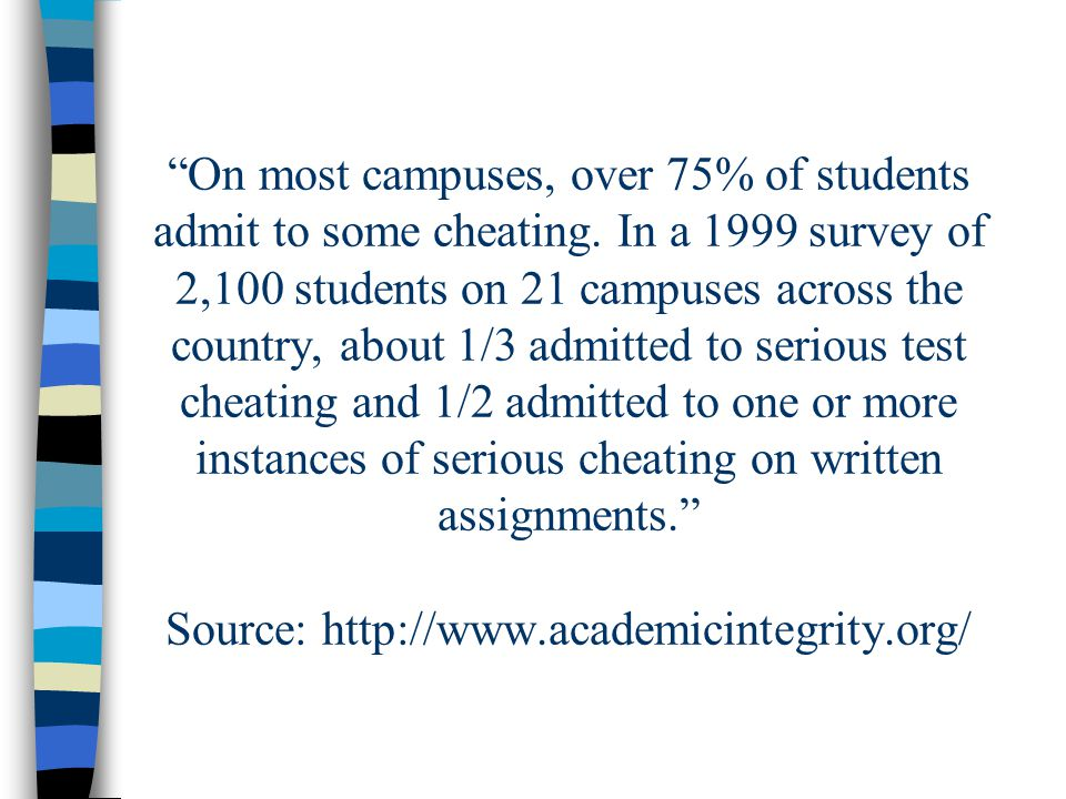 On most campuses, over 75% of students admit to some cheating.