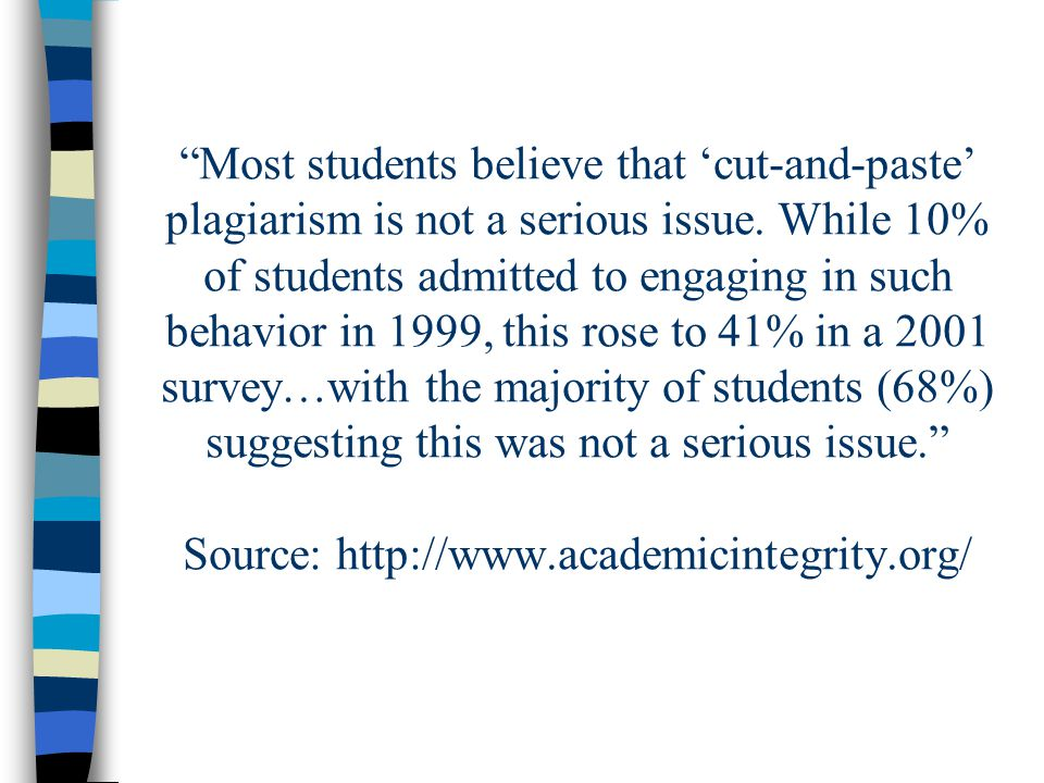 Most students believe that 'cut-and-paste' plagiarism is not a serious issue.