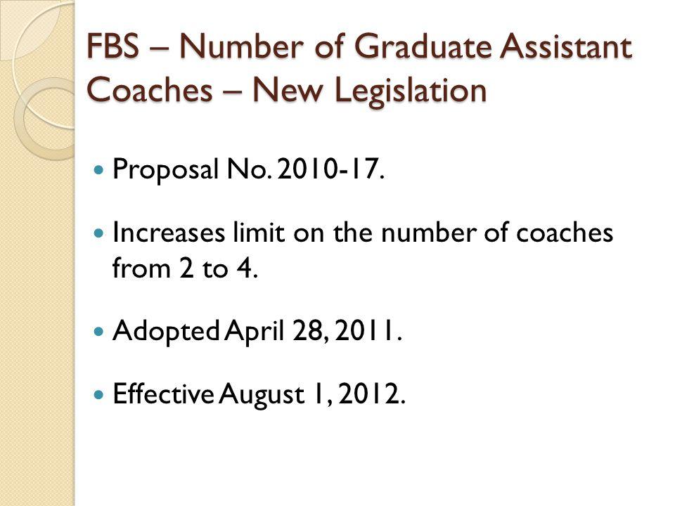 FBS – Number of Graduate Assistant Coaches – New Legislation Proposal No.