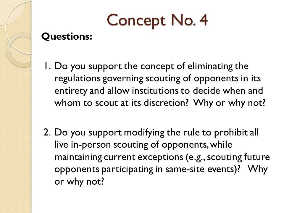 Concept No.5 Concept No. 5: Eliminate coaching categories.