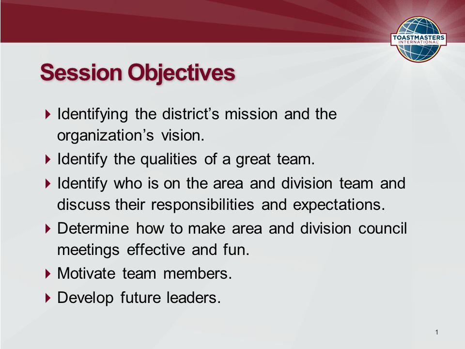  Identifying the district's mission and the organization's vision.