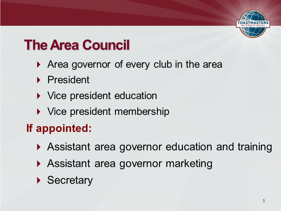  Identify experienced Toastmasters in your area or division.