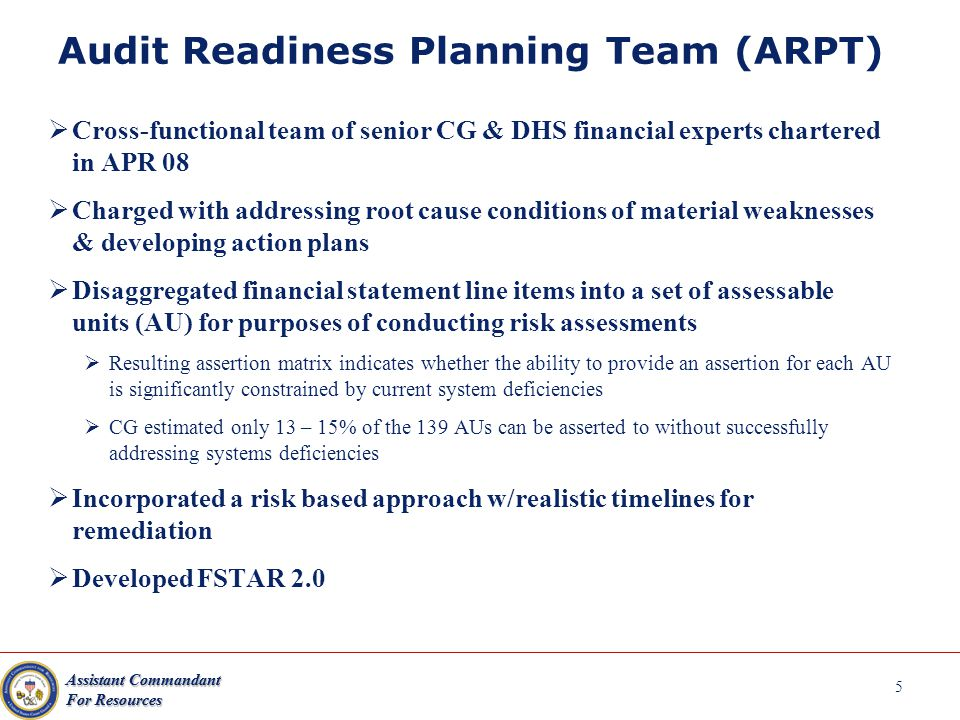 5 Audit Readiness Planning Team (ARPT)  Cross-functional team of senior CG & DHS financial experts chartered in APR 08  Charged with addressing root cause conditions of material weaknesses & developing action plans  Disaggregated financial statement line items into a set of assessable units (AU) for purposes of conducting risk assessments  Resulting assertion matrix indicates whether the ability to provide an assertion for each AU is significantly constrained by current system deficiencies  CG estimated only 13 – 15% of the 139 AUs can be asserted to without successfully addressing systems deficiencies  Incorporated a risk based approach w/realistic timelines for remediation  Developed FSTAR 2.0 Assistant Commandant For Resources