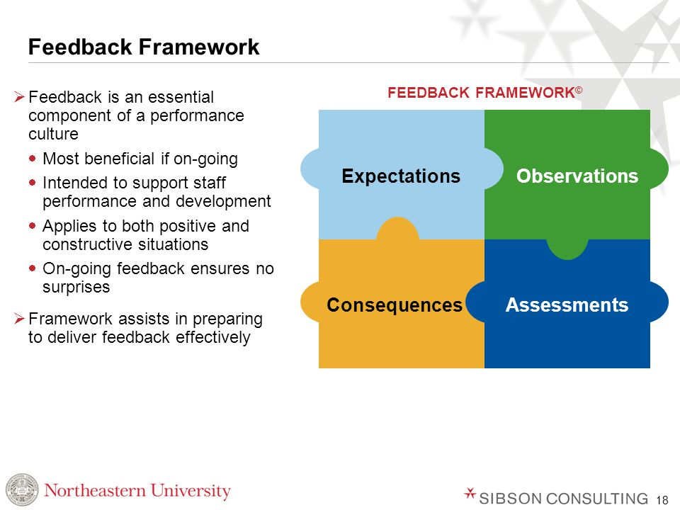 18 Feedback Framework  Feedback is an essential component of a performance culture  Most beneficial if on-going  Intended to support staff performance and development  Applies to both positive and constructive situations  On-going feedback ensures no surprises  Framework assists in preparing to deliver feedback effectively ExpectationsObservations AssessmentsConsequences FEEDBACK FRAMEWORK ©