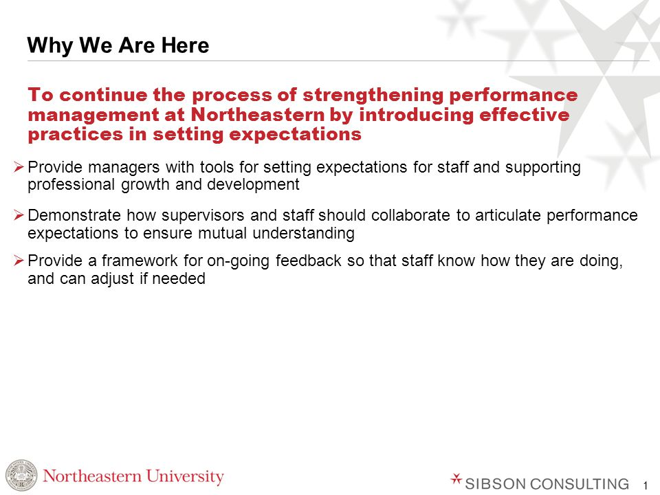 1 Why We Are Here To continue the process of strengthening performance management at Northeastern by introducing effective practices in setting expectations  Provide managers with tools for setting expectations for staff and supporting professional growth and development  Demonstrate how supervisors and staff should collaborate to articulate performance expectations to ensure mutual understanding  Provide a framework for on-going feedback so that staff know how they are doing, and can adjust if needed