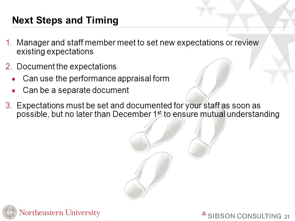 21 Next Steps and Timing 1.Manager and staff member meet to set new expectations or review existing expectations 2.Document the expectations  Can use the performance appraisal form  Can be a separate document 3.Expectations must be set and documented for your staff as soon as possible, but no later than December 1 st to ensure mutual understanding