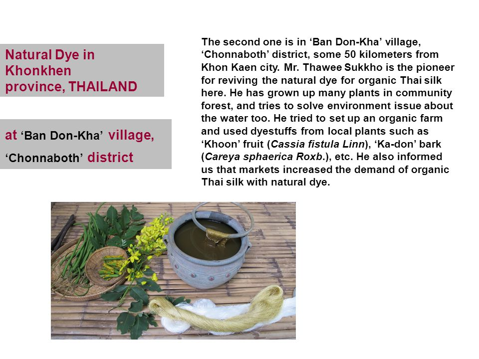 Natural Dye in Khonkhen province, THAILAND The second one is in 'Ban Don-Kha' village, 'Chonnaboth' district, some 50 kilometers from Khon Kaen city.