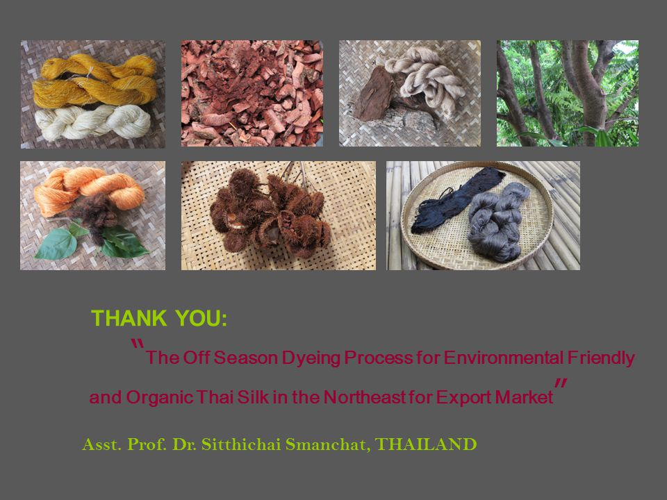 THANK YOU: The Off Season Dyeing Process for Environmental Friendly and Organic Thai Silk in the Northeast for Export Market Asst.