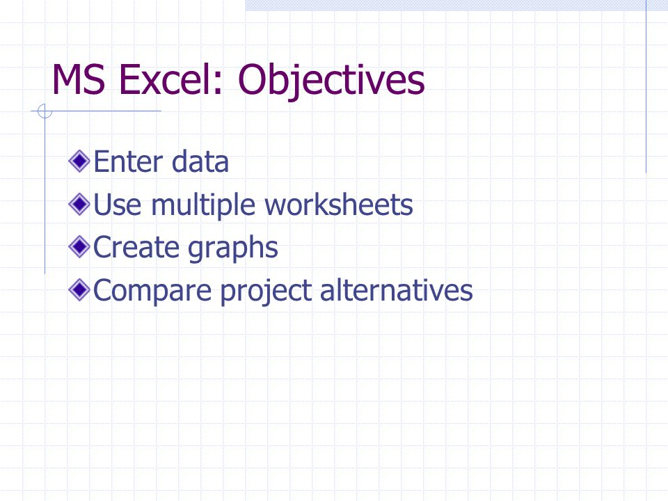 MS Excel: Objectives Enter data Use multiple worksheets Create graphs Compare project alternatives