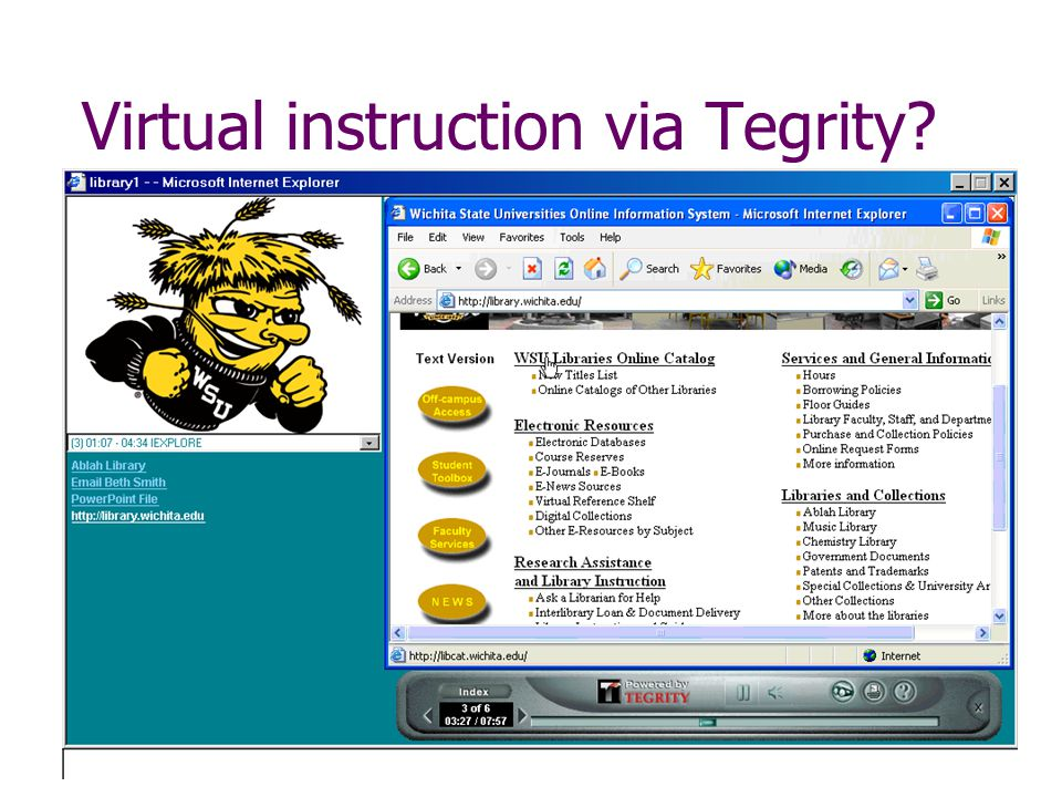 Virtual instruction via Tegrity