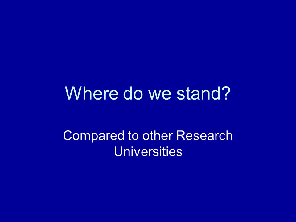 Where do we stand Compared to other Research Universities