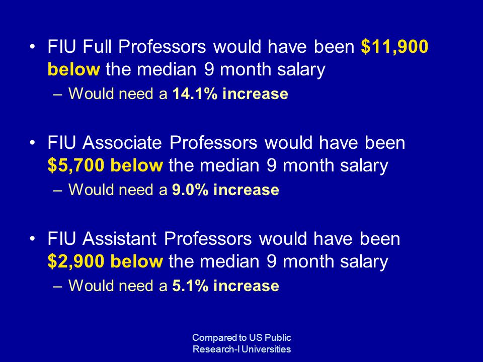 Compared to US Public Research-I Universities FIU Full Professors would have been $11,900 below the median 9 month salary –Would need a 14.1% increase FIU Associate Professors would have been $5,700 below the median 9 month salary –Would need a 9.0% increase FIU Assistant Professors would have been $2,900 below the median 9 month salary –Would need a 5.1% increase