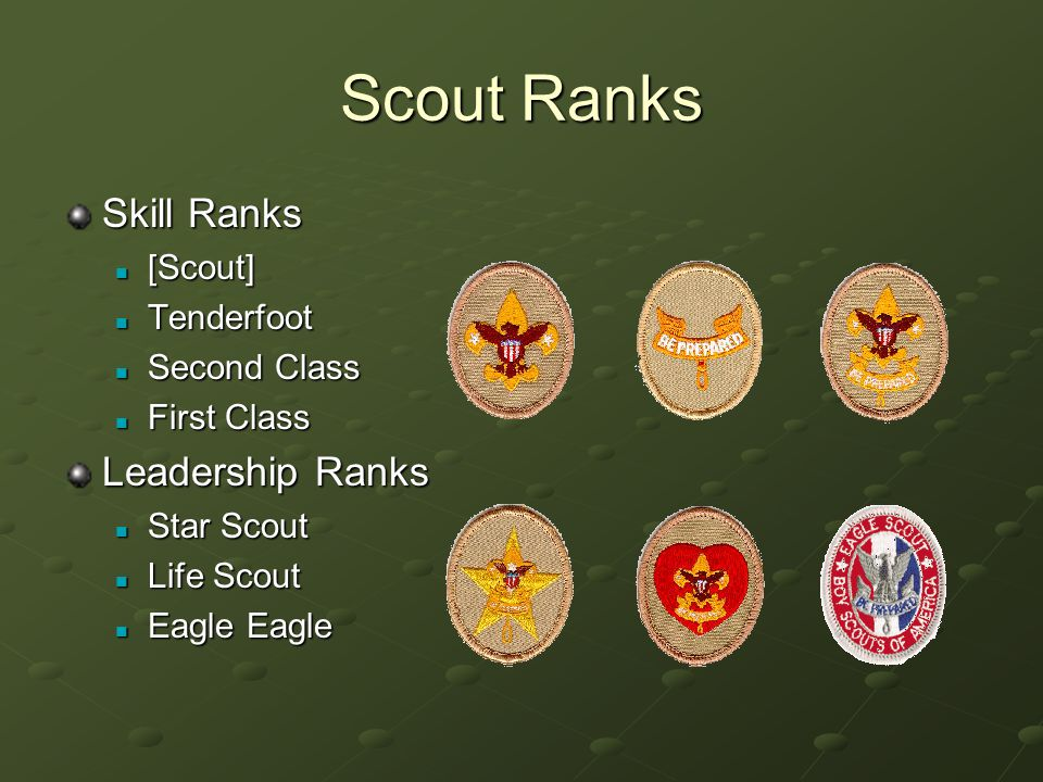 Scout Ranks Skill Ranks [Scout] [Scout] Tenderfoot Tenderfoot Second Class Second Class First Class First Class Leadership Ranks Star Scout Star Scout Life Scout Life Scout Eagle Eagle Eagle Eagle