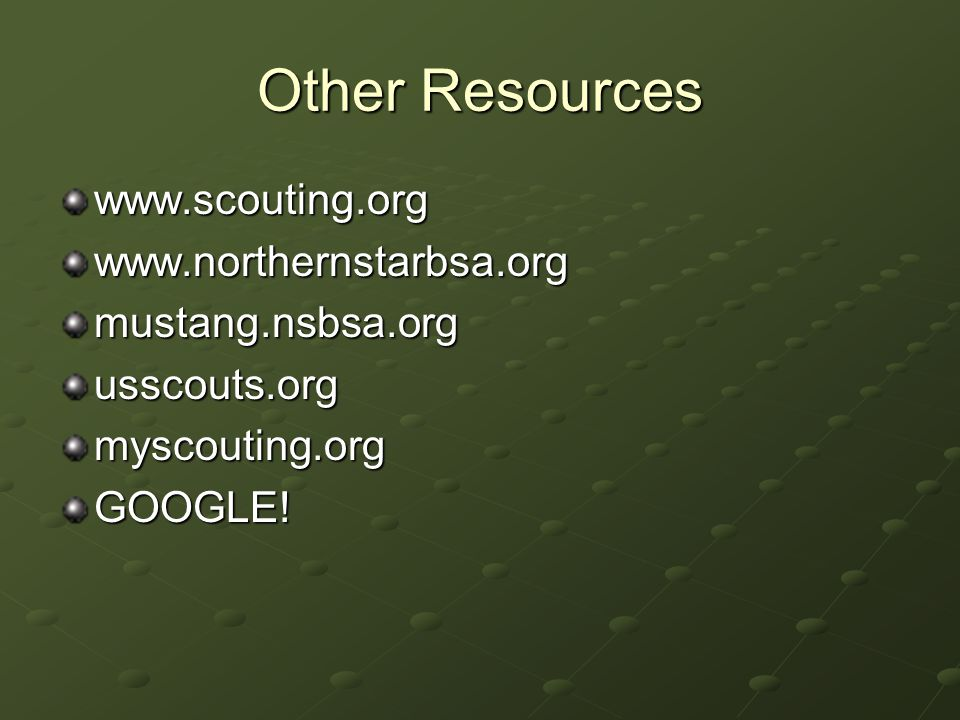 Other Resources www.scouting.orgwww.northernstarbsa.orgmustang.nsbsa.orgusscouts.orgmyscouting.orgGOOGLE!