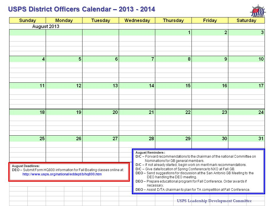 USPS District Officers Calendar – 2013 - 2014 USPS Leadership Development Committee Stf/Cdr R.