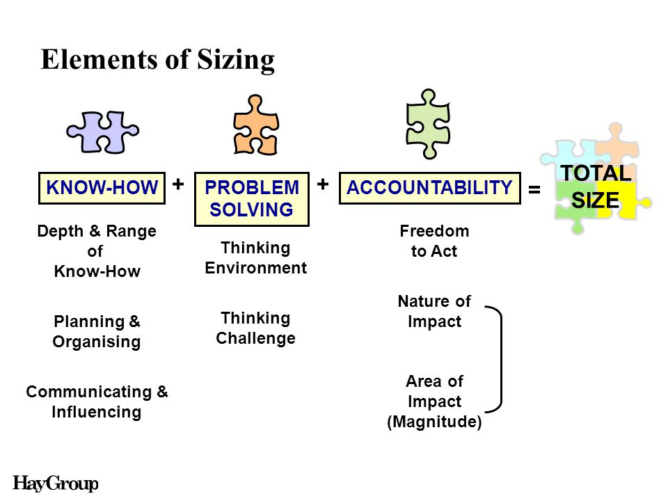 Elements of Sizing Depth & Range of Know-How Planning & Organising Communicating & Influencing Freedom to Act Nature of Impact Area of Impact (Magnitude) Thinking Environment Thinking Challenge PROBLEM SOLVING KNOW-HOWACCOUNTABILITY ++ = TOTAL SIZE