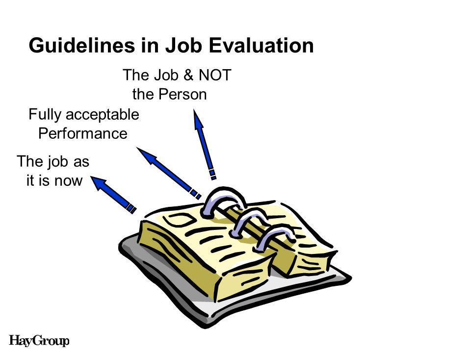 Guidelines in Job Evaluation The job as it is now Fully acceptable Performance The Job & NOT the Person