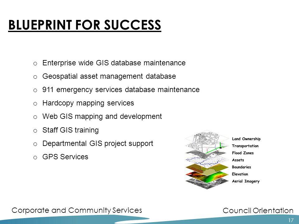 Council Orientation Corporate and Community Services 17 o Enterprise wide GIS database maintenance o Geospatial asset management database o 911 emerge