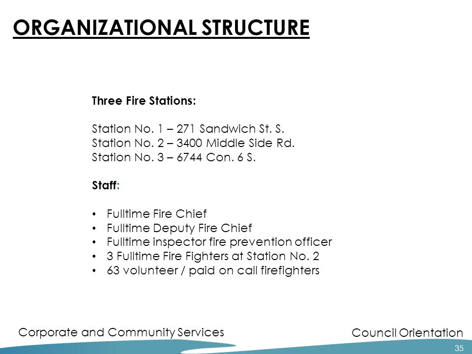 Council Orientation Corporate and Community Services 35 ORGANIZATIONAL STRUCTURE Three Fire Stations: Station No.