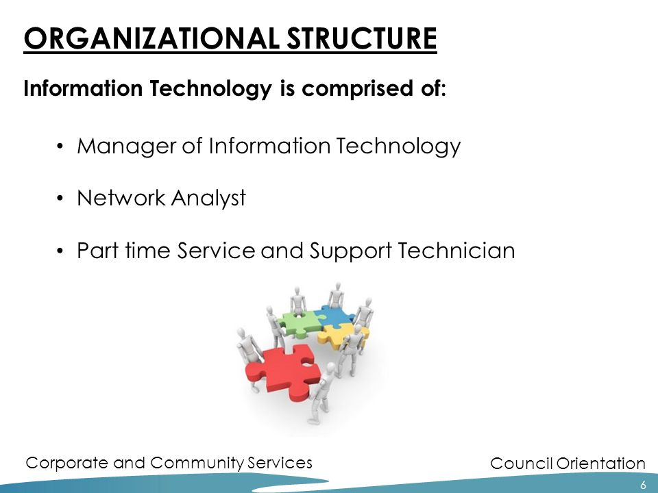 Council Orientation Corporate and Community Services ORGANIZATIONAL STRUCTURE Information Technology is comprised of: Manager of Information Technology Network Analyst Part time Service and Support Technician 6