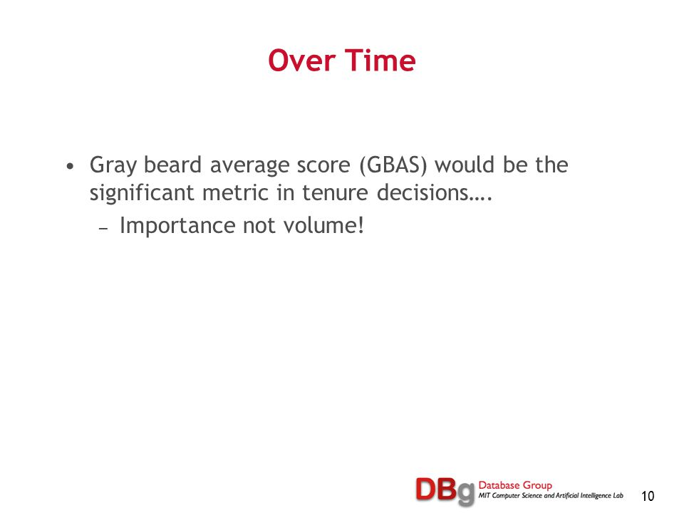 10 Over Time Gray beard average score (GBAS) would be the significant metric in tenure decisions….
