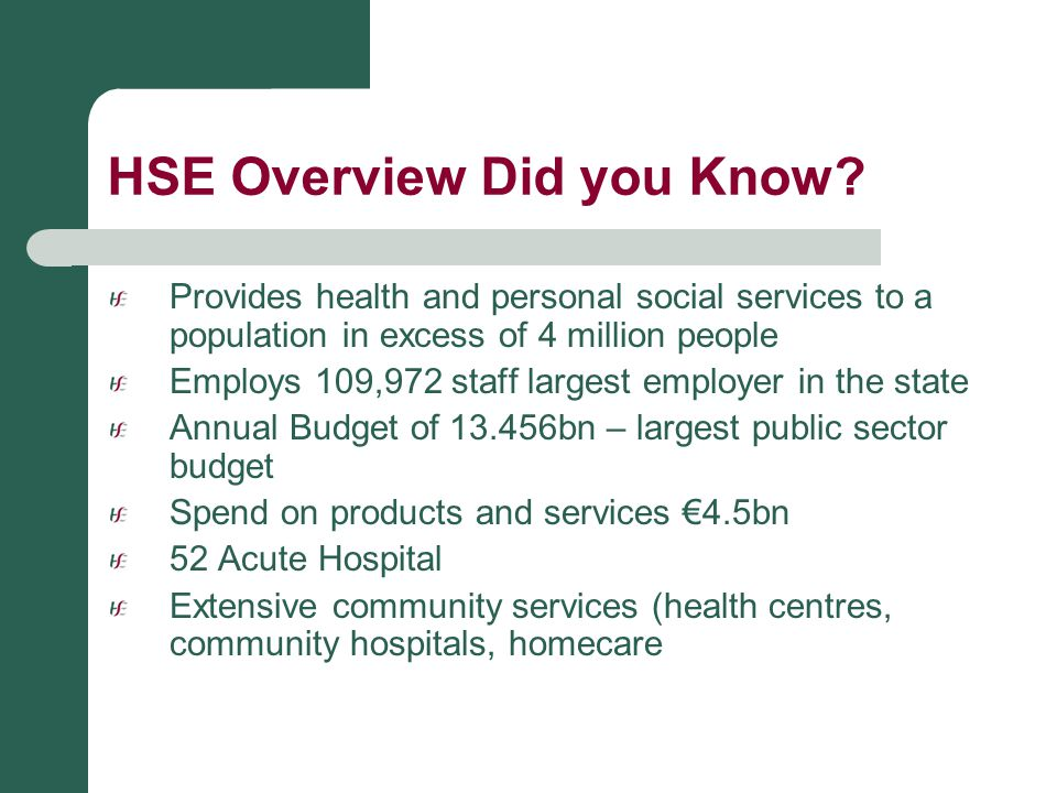 HSE Overview Did you Know? Provides health and personal social services to a population in excess of 4 million people Employs 109,972 staff largest em