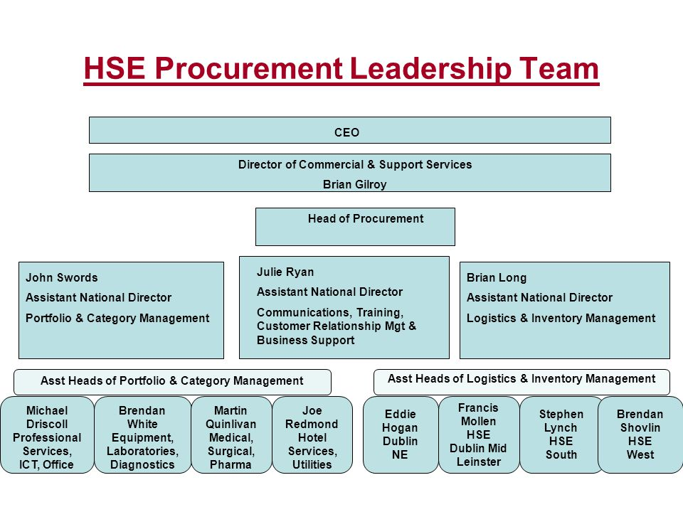 HSE Procurement Leadership Team CEO Director of Commercial & Support Services Brian Gilroy Head of Procurement John Swords Assistant National Director