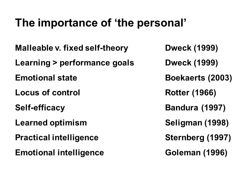 The importance of 'the personal' Malleable v.