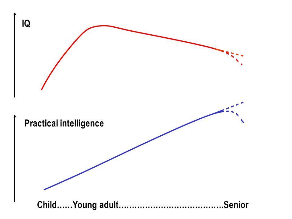 Child……Young adult………………………………….Senior IQ Practical intelligence