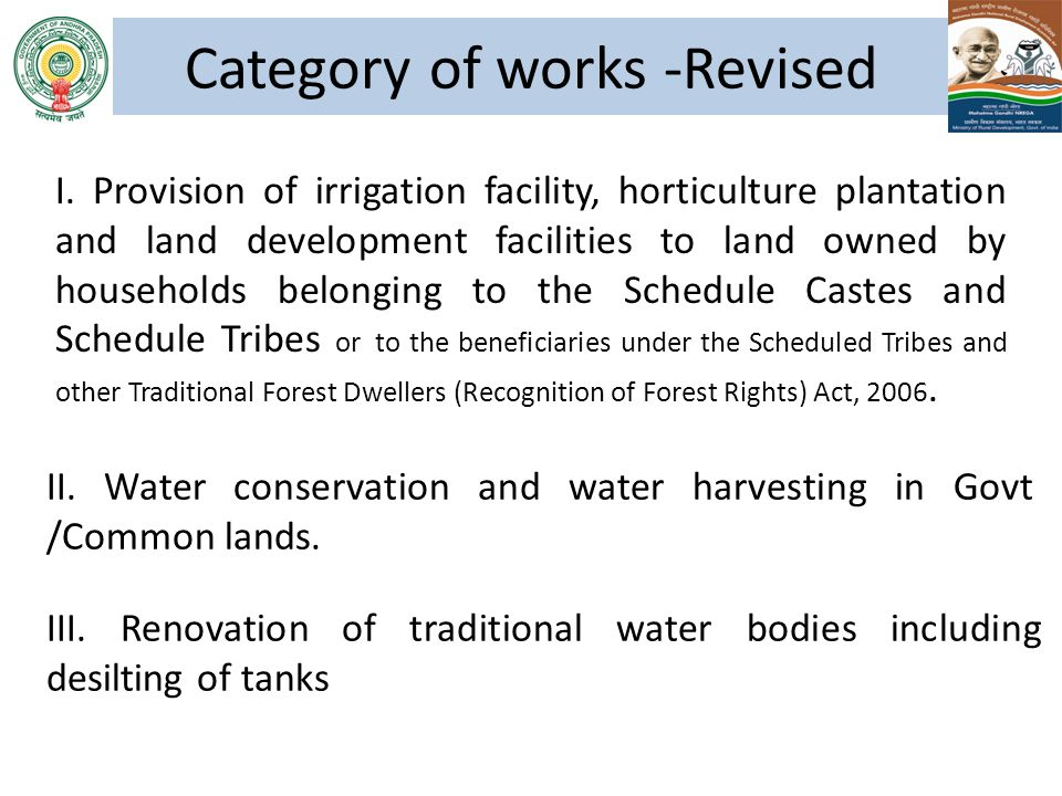I. Provision of irrigation facility, horticulture plantation and land development facilities to land owned by households belonging to the Schedule Cas