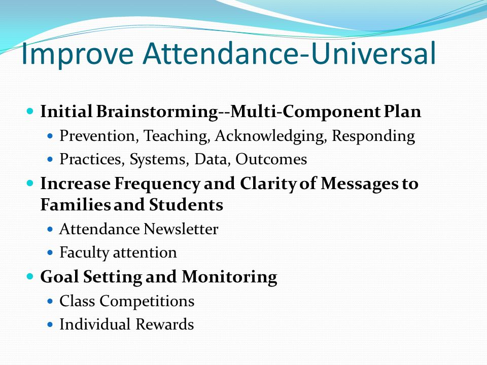 Improve Attendance-Universal Initial Brainstorming--Multi-Component Plan Prevention, Teaching, Acknowledging, Responding Practices, Systems, Data, Out