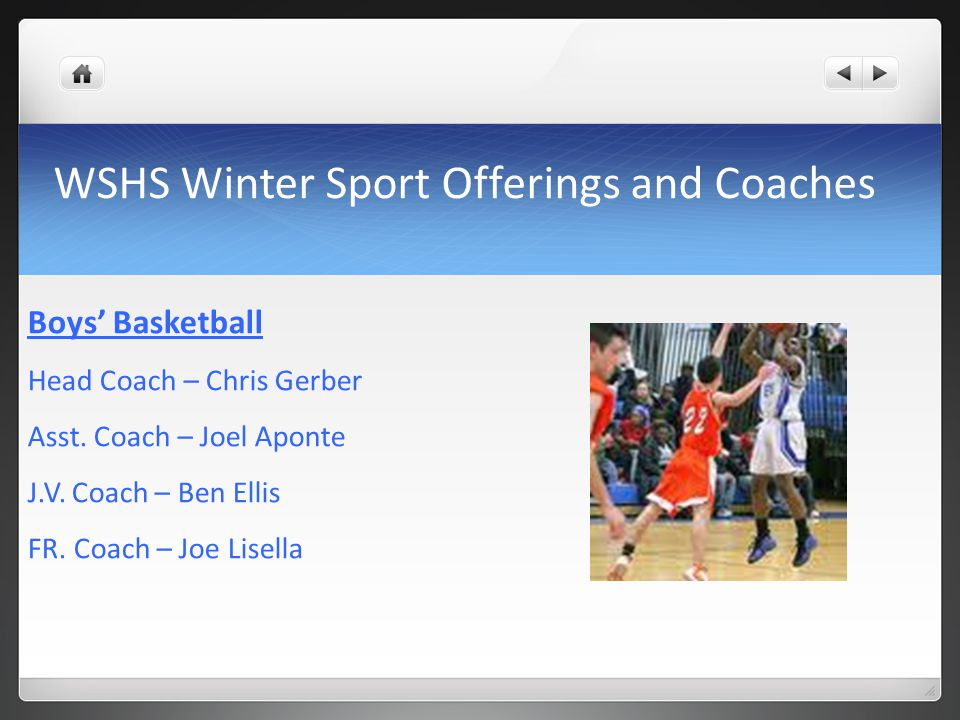 WSHS Winter Sport Offerings and Coaches Boys' Basketball Head Coach – Chris Gerber Asst.